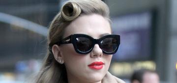 """Scarlett Johansson's retro look & magnificent coat stole the show"" links"