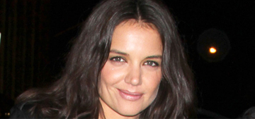 Katie Holmes in black leather & sheer skirt at NYFW: gorgeous or uncomfortable?
