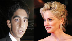 Sharon Stone flirts with Dev Patel by slapping him