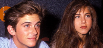 Was Jennifer Aniston's first on-set love affair with Charlie Schlatter in 1990?