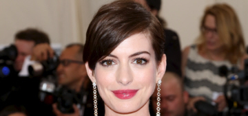Anne Hathaway in red Calvin Klein at the 2014 Met Gala: boring or classic?