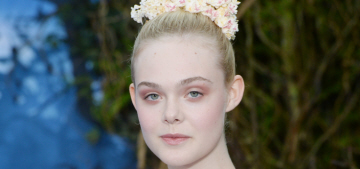 Elle Fanning in pale Georges Hobeika at 'Maleficent' event: lovely or washed out?