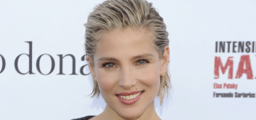 Elsa Pataky wears ruffles, wet-look hair to her fitness book launch: cute or tragic?