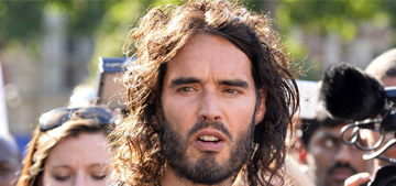 Russell Brand gave an impassioned, shirtless speech against UK austerity