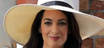 Amal Alamuddin wears a smart cream pantsuit for her civil wedding in Venice