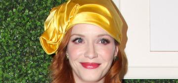Christina Hendricks dons a yellow Stephen Jones turban: love it or hate it?