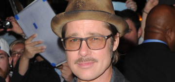 Brad Pitt wears stupid hat, shiny jacket to screening: Johnny Depp lameness?