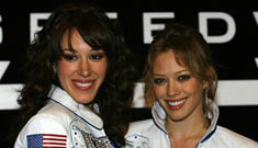 Hillary and Haylie Duff at Auto Club 500
