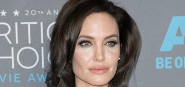 Angelina Jolie in Versace at the Critics Choice: Hershey's Kiss realness?