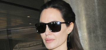 Angelina Jolie arrives at LAX with sleepy-looking Knox & Viv: adorable?