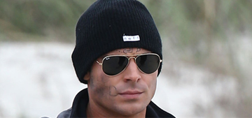 """""""Zac Efron wears almost nothing & looks chilly on the beach"""" links"""