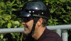 George Clooney on his motorcycle