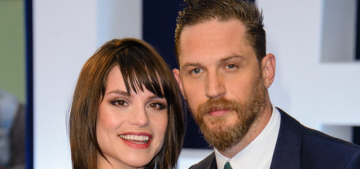 Tom Hardy's wife Charlotte debuts her baby bump at the UK 'Legend' premiere