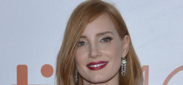 Jessica Chastain in velvet Givenchy at TIFF 'Martian' premiere: pretty or fussy?
