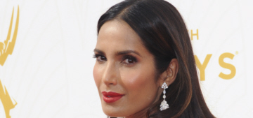 Padma Lakshmi in Romona Keveza at the Emmys: is this the wrong color?
