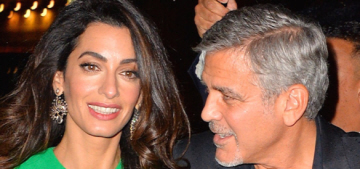 Amal Clooney wears green Versace, steps out with George at the NYFF
