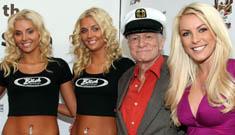 Hugh Hefner celebrates 83rd birthday with new and ex girlfriends
