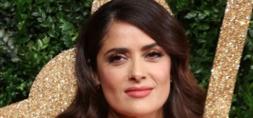 Salma Hayek in custom Gucci at the British Fashion Awards: saloon-girl fug?