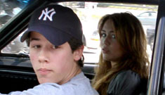 Miley Cyrus & Nick Jonas go out to lunch, get in fender bender