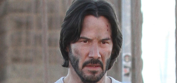 Would you like some photos of Keanu Reeves and a pit bull?  Of course.