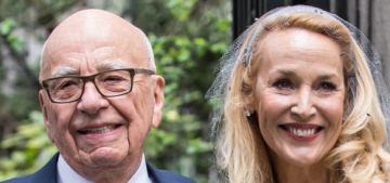 Jerry Hall wore ice-blue Vivienne Westwood for her wedding to Rupert Murdoch
