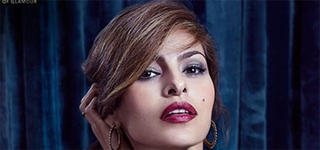 Eva Mendes's beauty routine involves checking for throw up or food on her clothes