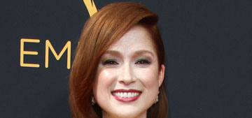 Ellie Kemper in mustard Jenny Packham at the Emmys: striking or washes her out?
