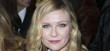 Kirsten Dunst's engagement ring is about 3 carats, with a yellow gold setting
