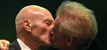 Ian McKellan kissed Patrick Stewart on stage at the Empire Awards