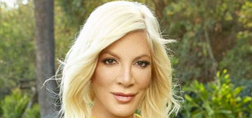 Tori Spelling threw a kids' Easter party with a huge bounce house