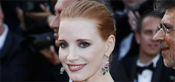 Jessica Chastain in Armani at Cannes anniversary event: gorgeous or shelf boobs?