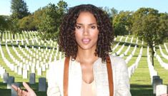 Halle Berry in a cemetary