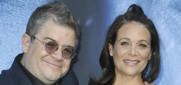 Patton Oswalt and fiancée Meredith Salenger had their first 'argument' on Twitter