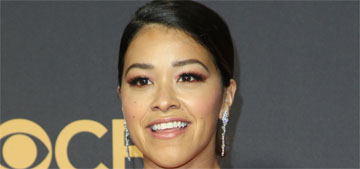 Gina Rodriguez in Naeem Khan at the Emmys: too deep a v-neck or doesn't matter?