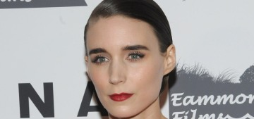 Rooney Mara actually wore a bright red two-piece McQueen ensemble, shock