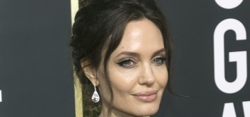 Angelina Jolie wore a fab, feathered black Versace to the Golden Globes