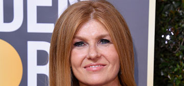 Connie Britton wore a custom and comfortable Lingua Franca sweater to The Globes