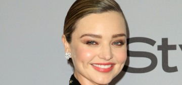Miranda Kerr made a slinky Balmain dress into maternity-wear at a Globes party