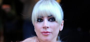 Lady Gaga stepped out in Milan with nightmarish bangs & a $5K goat-fur coat