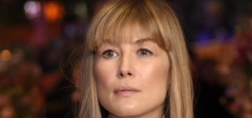 Rosamund Pike debuts some thick bangs in Berlin: love them or hate them?