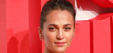 Alicia Vikander in Louis Vuitton at the 'Tomb Raider' premiere: chintzy-fab or fug?
