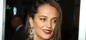 Alicia Vikander looked lovely in Louis Vuitton at the LA 'Tomb Raider' premiere