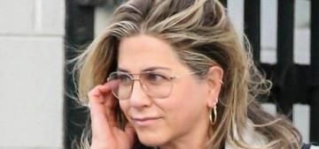 Jennifer Aniston's casual street/salon style involves cute boots, aviator glasses