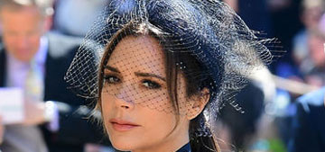Victoria Beckham in navy with crimson stilettos at the Royal Wedding: dour or cool?