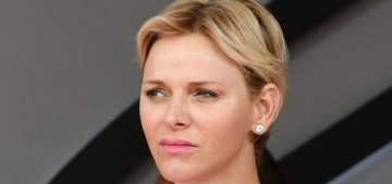 Princess Charlene wore Akris, took a big swig from a champagne bottle