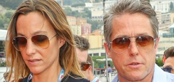 Hugh Grant married Anna Eberstein, they honeymooned at the Formula One race