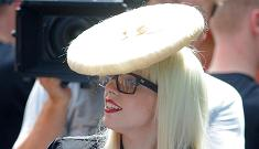 Lady Gaga begs for attention with Ritz cracker hat