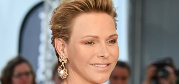 Princess Charlene wore Carolina Herrera & some really terrible pink eyeshadow