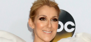 Celine Dion's fringe migrated from her head to her dress: cute and summery?