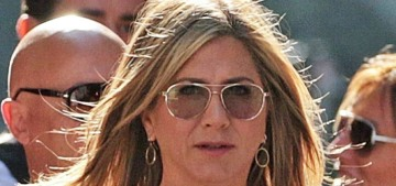Jennifer Aniston has spent a quiet summer working with Adam Sandler in Italy